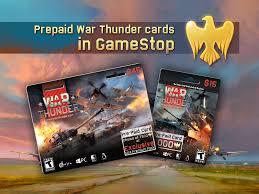 prepaid war thunder cards in gamestop usa