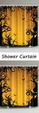 <b>Halloween</b> Trees <b>Pumpkin Print</b> Waterproof Bathroom Shower Curtain