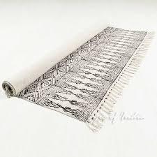 black off white cotton block print area accent dhurrie rug bohemian flat weave 3