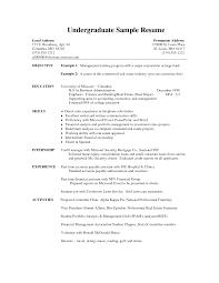 Sample Resume Undergraduate undergraduate resume objective Goalgoodwinmetalsco 2