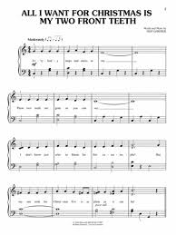all i want for christmas is my two front teeth sheet music simple christmas songs the easiest easy piano songs chafin music
