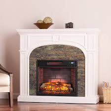 timothy faux stone infrared electric fireplace white by sei