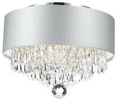 flush mount drum chandelier two light brushed nickel beige linen shade