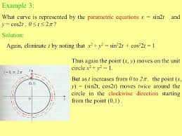 example 3 what curve is represented by the parametric equations x sin2t and y