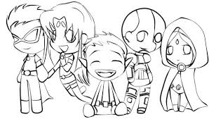 Small Picture Cute Teen Titan Chibi Drawing Coloring Page NetArt