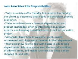 Sales Associate Qualifications Description Of Sales Associate Duties For Resume