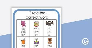 Cvc sentences pdf download here! Cvc Words Circle The Correct Word Worksheet Teaching Resource Teach Starter