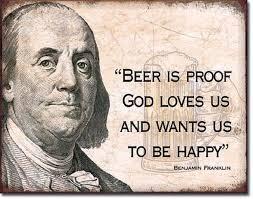 Beer Is Proof God Loves Us Ben Franklin TIN SIGN Metal Poster Bar Awesome Ben Franklin Beer Quote