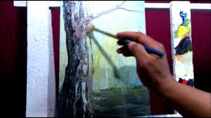 learn how to paint a close up tree trunk painting tutorial by bernie john velara