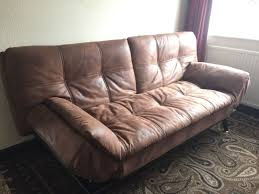 brown leather sofa bed. Bensons Texas Faux Leather Sofa Bed Brown
