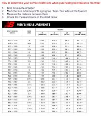 New Balance Size Chart New Balance Size Chart Men Www Bedowntowndaytona Com