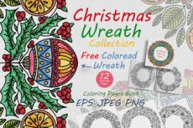 Christmas Wreath For Coloring Book Graphic By Folkstylestudio Creative Fabrica