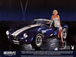 ac cobra. shelby cobra and 1999 playmate of the year poster 18 x 24 sports car ac