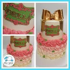 2 Tiered Pink Gold Rosette Buttercream Baby Shower Cake Nj