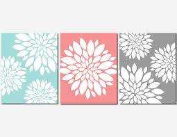 Coral Aqua Gray Wall Art Home Decor Flower Burst Floral