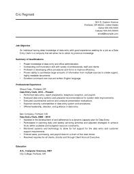 Resume Data Entry Resume Sample For Data Entry Operator And Clerk Free Vinodomia Data 4