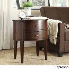Aldine 2-drawer Oval Wood Accent Table by iNSPIRE Q Bold   Overstock.com