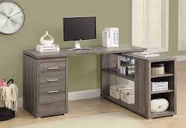 com monarch specialties hollow core left or right facing corner desk dark taupe kitchen dining