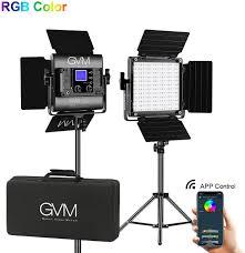 Gvm Rgb Led Video Light Photography Lighting With App Control Video Lighting Kit For Youtube Studio 2 Packs Led Panel Light 3200k 5600k Cri 97