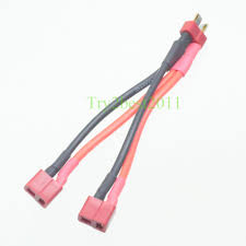 deans style t plug parallel y harness one male two female lipo rc deans style t plug parallel y harness one male two female lipo rc battery esc