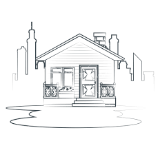 Sketch Cottage Flat Residential Houses Vector Illustration Graphic