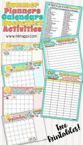 summer planning calendars bucket list