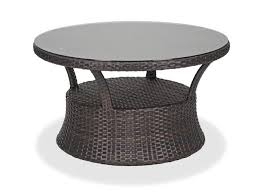 san lucas 42 round aluminum woven resin wicker glass top conversation table