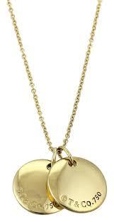18k yellow double disc pendant necklace image 0