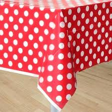 red white polka dot tablecloth black plastic table cover with dots and cotton round
