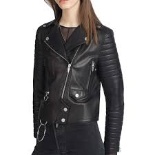 women s padded sleeves black lambskin leather motorcycle jacket zoom women s