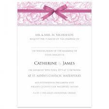 Pink Ribbon Damask Wedding Invitations