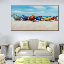 handmade modern home wall decor art pictures handpainted abstract boats beach sky oil painting on canvas