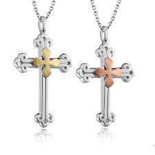 blue sweet couple necklaces rose gold cross pendants set for women and men cross