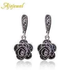 <b>Ajojewel Brand New Fashion</b> Vintage Earrings For Women Black CZ ...