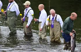 fishing themed wedding. Alaska fishing guides tie knot in salmon stream The Spokesman Review