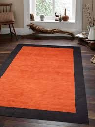 hand knotted gabbeh wool 67x910 area rug solid orange black l00201 getmyrugs com