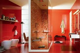 red bathroom color ideas. Glossy Red Accent Wall For Modern Luxury Bathroom Decorating Ideas With Floating Shelves And Orange Mosaic Tiled Shower Room Color