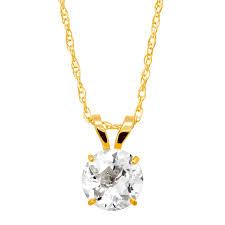 1 ct white topaz round cut solitaire pendant