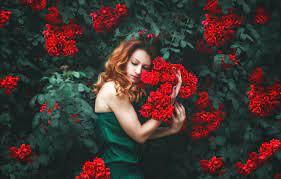 Wallpaper girl, flowers, pose, mood ...