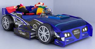 cool blue race car beds for toddlers with toys and storage underneath plus  comfy bedding for