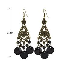 sarah mop shell beaded fl chandelier earring for women black best s in india rediff ping