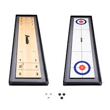 Franklin Sports 2-in-<b>1</b> Shuffleboard Table and Curling <b>Set</b> - <b>Portable</b> ...