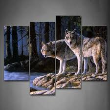 Awesome Amazon.com: Two Wolf Stand On River Bank Forest Wall Art Painting Wolves  Pictures Print On Canvas Animal The Picture For Home Modern Decoration