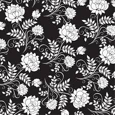 壁紙背景イラスト花の模様柄パターン No289白黒茎葉