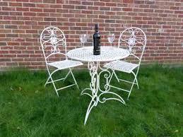 folding metal outdoor furniture 3 piece cream metal bistro set for 2 ornate garden patio set