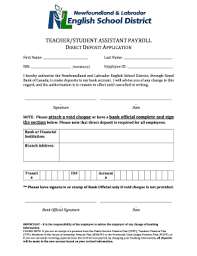 Fillable Online Payroll Direct Deposit Application Esdnl Ca Fax