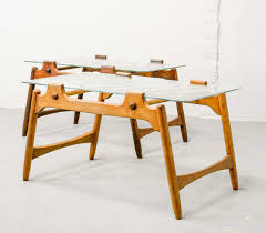 mid century design solid wood coffee tables with sandblasted glass top 1950s 88364