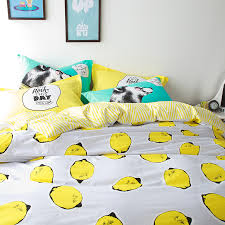 Yellow bedding sets lemon printed quilt cover bedsheet pillowcase ... & Yellow bedding sets lemon printed quilt cover bedsheet pillowcase 100%  cotton bed set juegos de cama queen size double twin size-in Bedding Sets  from Home ... Adamdwight.com