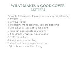 What Makes A Good Cover Letter Creating A Cover Letter For Resume