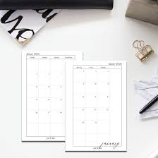 Printable 2020 Dated Monthly Planner Insert